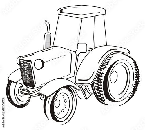 tractor, car, transport, farm, illustration, cartoon