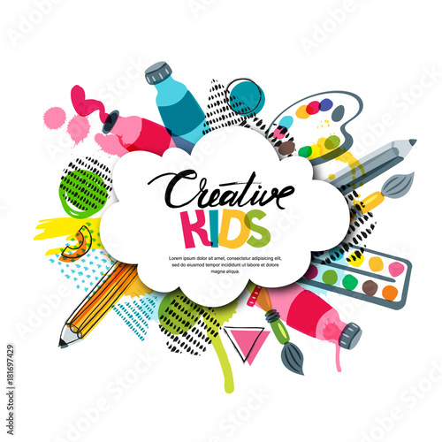 Kids art craft education creativity class concept Vector banner poster with white cloud