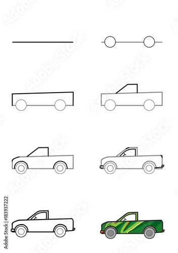Illustration .. Poster. Step-by-step drawing. A car