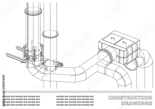 Construction drawings. 3D metal construction. Pipes
