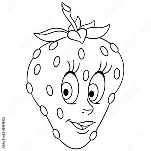 Coloring book. Coloring page. Cartoon Strawberry character