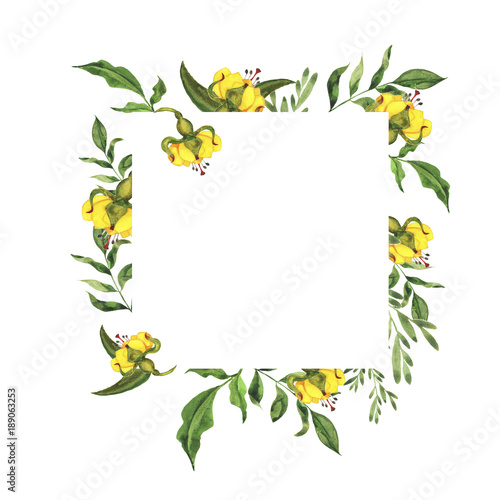 Yellow Flowers And Green Leaves Border
