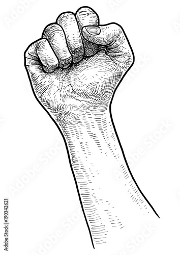 How To Draw Clenched Fist : clenched, Clenched, Illustration,, Drawing,, Engraving,, Vector, Stock, Adobe