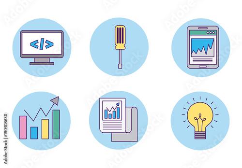 blue circular business icon