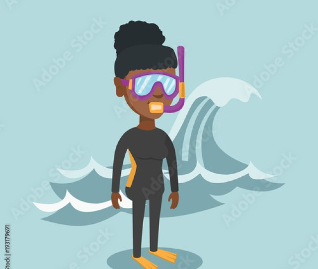 Young African American Scuba Diver In Diving Suit Flippers Mask And Tube Standing