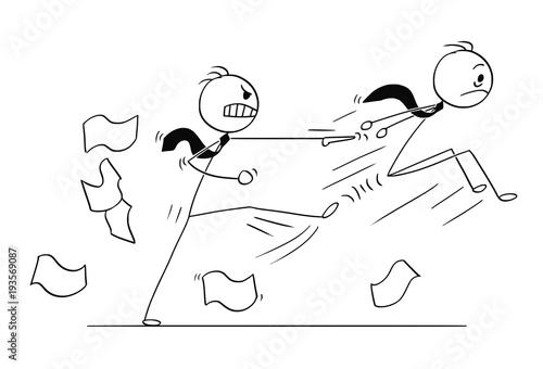 Cartoon stick man drawing conceptual illustration of