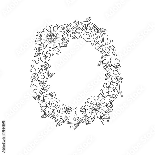 Floral alphabet letter O coloring book for adults. vector