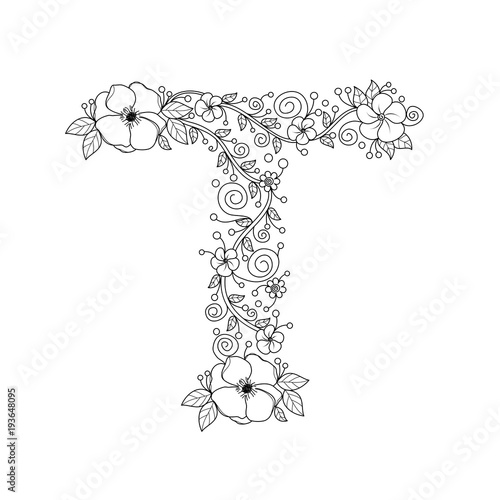 Floral alphabet letter T coloring book for adults. vector