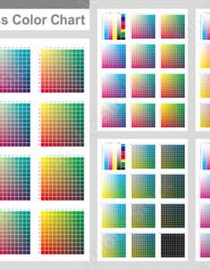 Cmyk press color chart vector palette process printing match cyan magenta yellow black for digital design animation and packaging when also rh stockobe