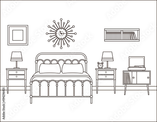 Bedroom interior. Hotel retro room with bed. Vector. Home