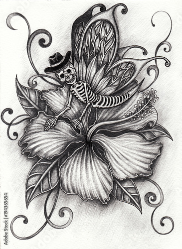 Pencil Drawings Of Flowers And Butterflies : pencil, drawings, flowers, butterflies, Fantasy, Butterfly, Skull, Flower., Pencil, Drawing, Paper., Stock, Illustration, Adobe