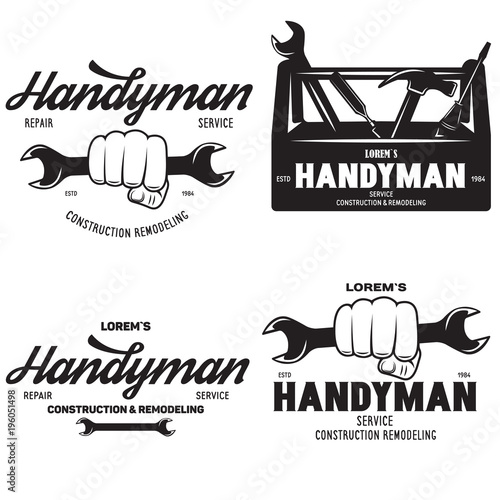 Handyman labels badges emblems and design elements. Tools