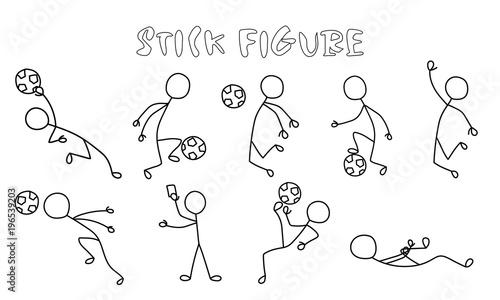 Set stick figure of football players. Simple sportsman