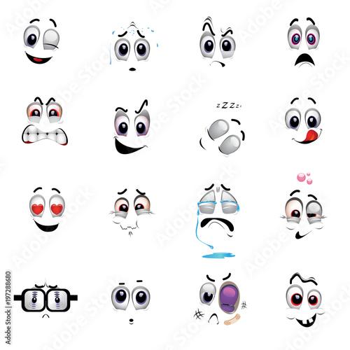 set of various face