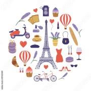 paris icon set with eiffel tower