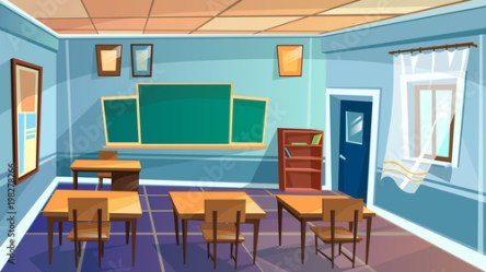 Vector cartoon empty elementary high school college university classroom background Illustration room interior indoor objects open window desk table chalkboard chair Learning education backdrop Buy this stock vector and explore