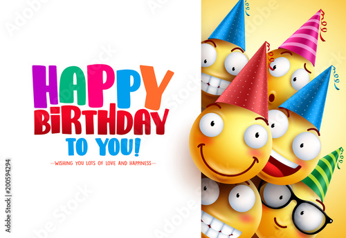 smileys birthday vector greeting