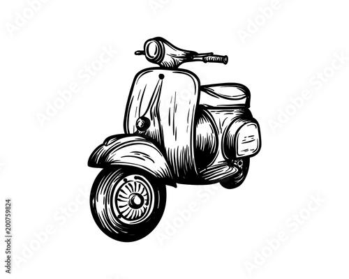 Vespa Motorcycles Hand Drawing Symbol Vintage Logo Vector