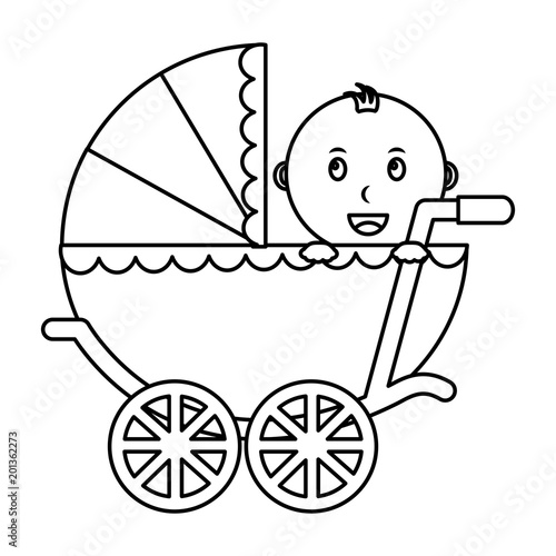 cute boy baby in pram transport vector illustration