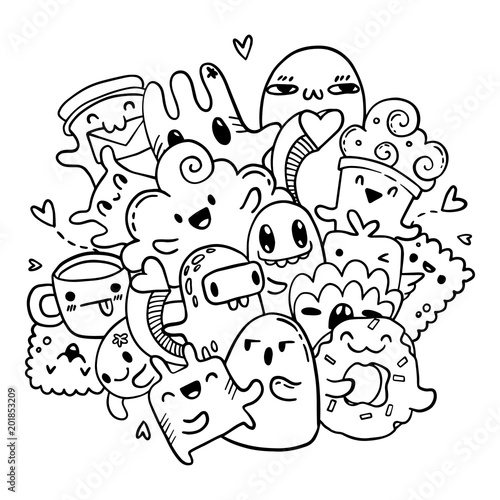 Cute doodles hand drawn pattern. Vector isolated outline