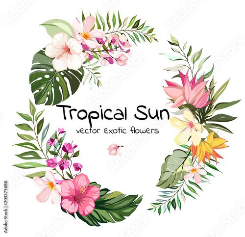 round frame wreath tropical