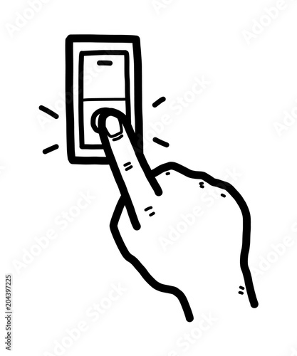 turning off switch / cartoon vector and illustration