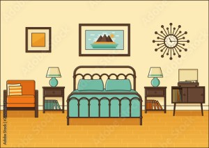 cartoon animated bedroom apartment interior space bed flat outline 1960s retro linear 1970s equipment similar