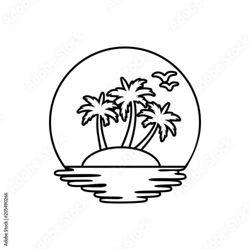 Beach line icon. Summer holidays design. Vector