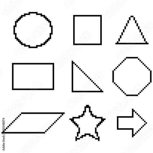 Pixel geometric shapes: circle, square, triangle