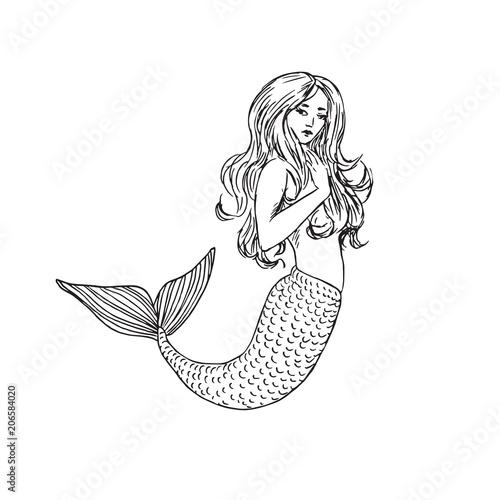 mermaid hand drawn outline