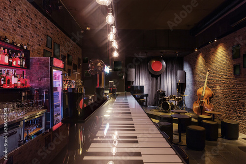 https stock adobe com images modern jazz bar interior design stage with black piano and cello lamps above bar counter 206674244 start checkout 1 content id 206674244