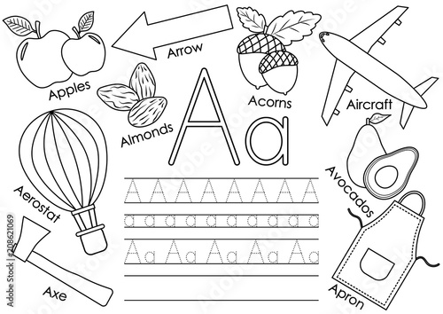 Letter A. Learning English alphabet with pictures and