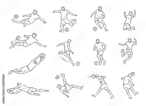 Soccer, Football Player, Movement, Sketch, Drawing, Vector