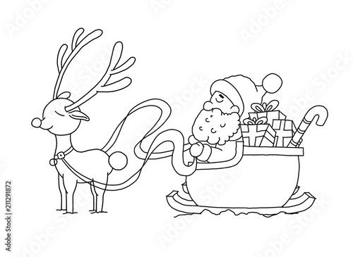 Ausmalbild Weihnachtsmann mit Schlitten Stock-Illustration