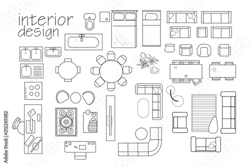 interior design floor plan symbols. top view furniture