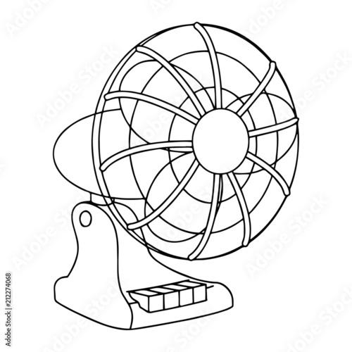 Desk air fan cartoon illustration isolated on white