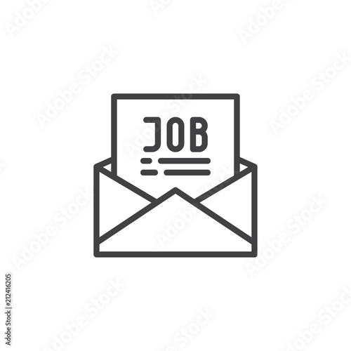 Mail with job offer outline icon. linear style sign for