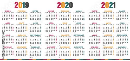 Spanish planning calendar 2019 2021 week starts on