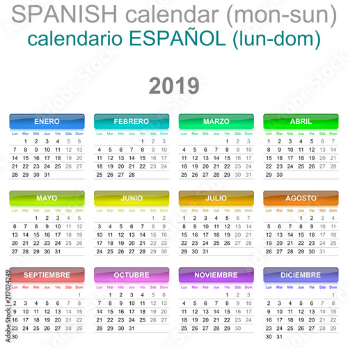 2019 Calendar Spanish Language Version Monday to Sunday