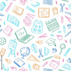 Vector back to school doodle elements pattern or background Study and learning objects Book notebook bag ball chalkboard illustration Buy this stock vector and explore similar vectors at Adobe Stock