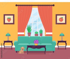 living interior cartoon lounge dog window flat furniture equipment adobe similar vectors