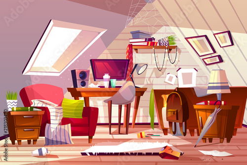 bedroom chair for clothes how to make a rocking messy room interior vector illustration cartoon garret or attic flat in clutter girl living thins chaos dust on furniture and scattered bed web