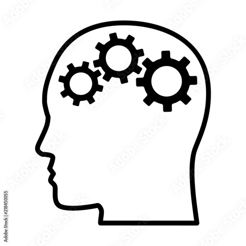 Gears / cogs in head representing critical thinking and