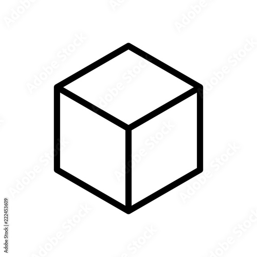 Geometric empty cube. Simple outline icon. Black on white