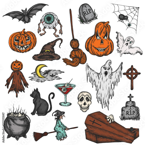 These kids songs are great for learning the alphabet, numbers, s. Halloween Holiday Colorful Cartoon Horror Set Scary Halloween Ghost Witch Pumpkin Witch Spooky Eye Vector Illustration Stock Vector Adobe Stock