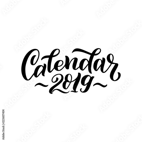 Vector illustration of 2019 calendar cover. For print