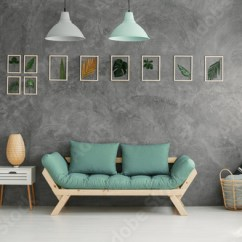 Green Cushions Living Room Modern Contemporary Ideas Wooden Sofa With Mint By A Gray Wall Botanic Gallery In Scandinavian Interior