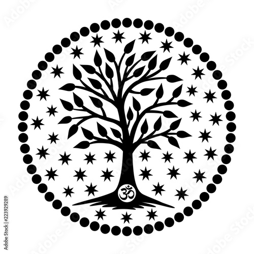 The tree of life with the Aum / Om / Ohm sign in the