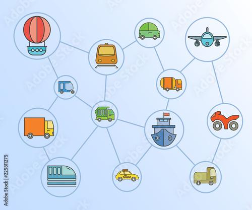 transportation icons network diagram