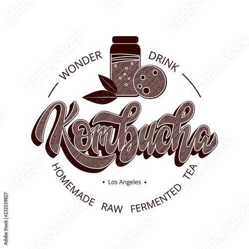 kombucha hand written vector